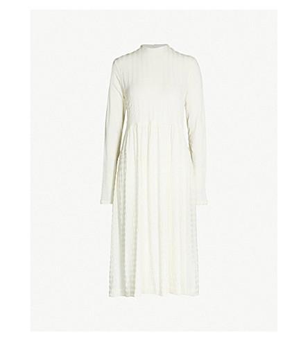 JIL SANDER Textured-stripe wool-blend midi dress (Natural/cream