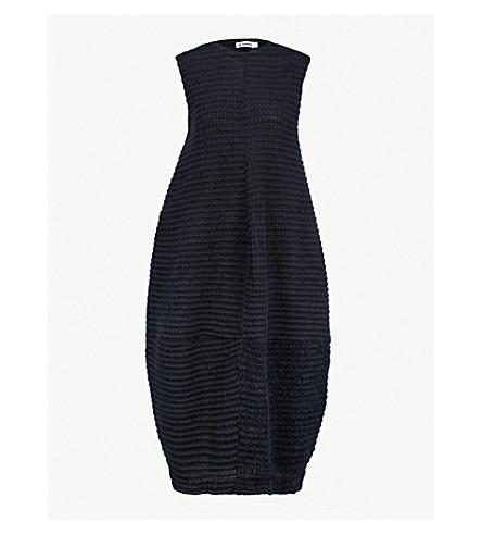 JIL SANDER Sleeveless pleated woven midi dress (Navy