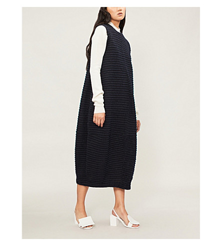 JIL SANDER Sleeveless pleated woven midi dress (Navy