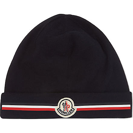 MONCLER Stripe panel beanie (Navy
