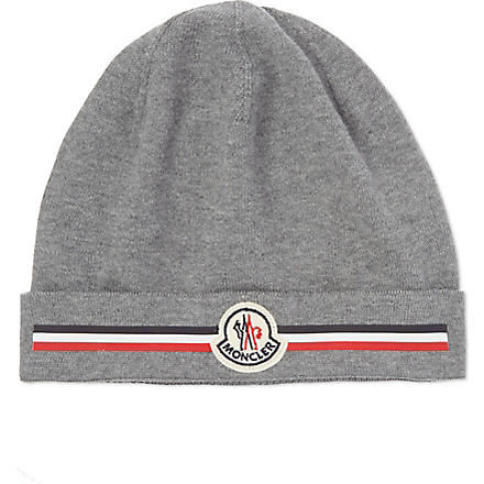 MONCLER Striped panel beanie (Grey