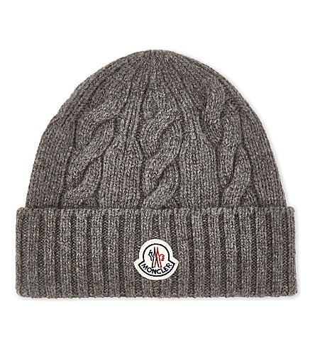 MONCLER Cable knit wool beanie (Grey