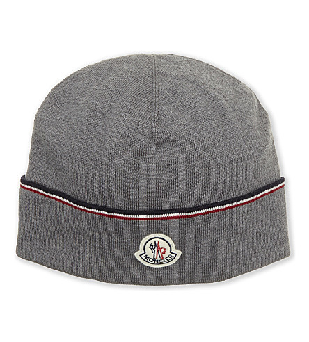 MONCLER Striped virgin wool beanie (Grey