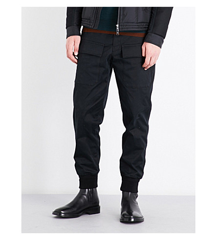 MONCLER Regular-fit cotton-twill cargo trousers (Black