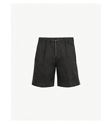 MONCLER Side-stripe woven shorts (Black