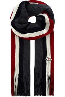 MONCLER Logo striped scarf