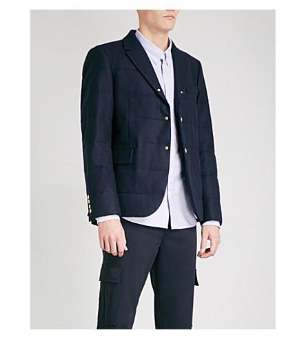 MONCLER GAMME BLEU Padded wool-flannel down blazer (Navy