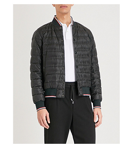 MONCLER Striped-trim quilted down jacket (Black