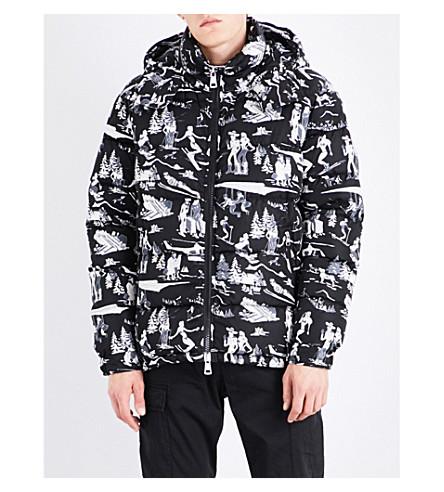 MONCLER Ski-print shell down jacket (Black+white