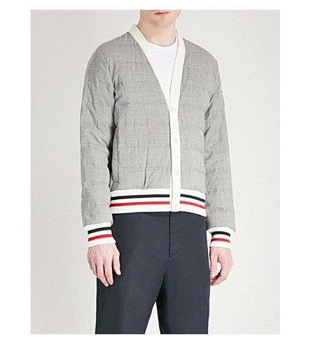 MONCLER GAMME BLEU Contrast-trim wool-down cardigan (Grey