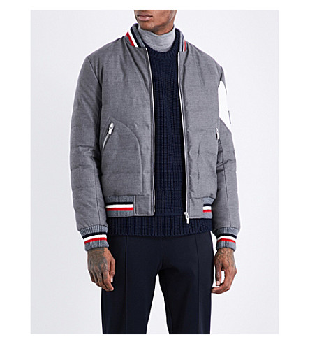 MONCLER GAMME BLEU Striped-trims twill bomber jacket (Grey