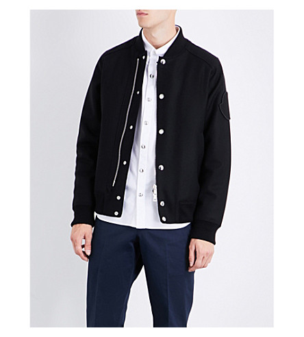 MONCLER Brand-patch wool bomber jacket (Black