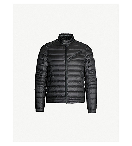 MONCLER Royat quilted shell-down biker jacket (Black