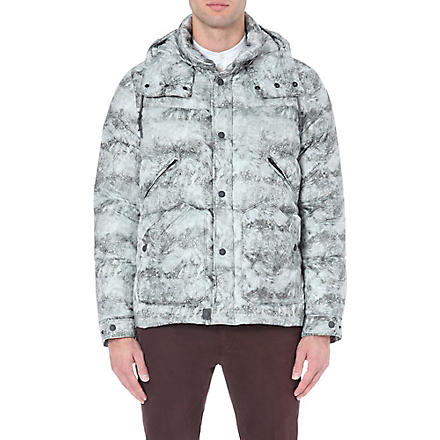 MONCLER Snowstorm-print quilted coat (Grey