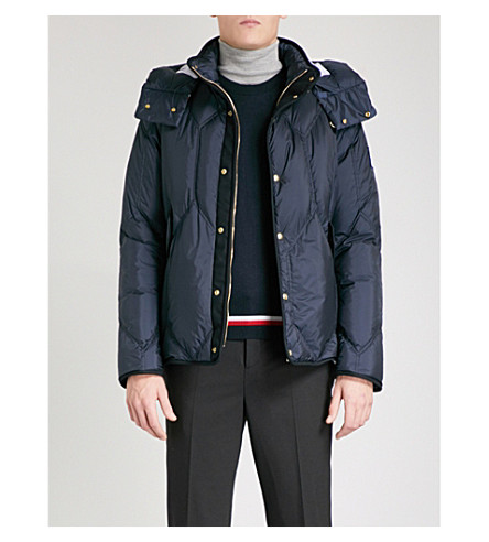 MONCLER GAMME BLEU Hooded quilted down and feather-blend jacket (Navy