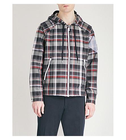 MONCLER GAMME BLEU Checked hooded cotton-blend windbreaker jacket (Multi