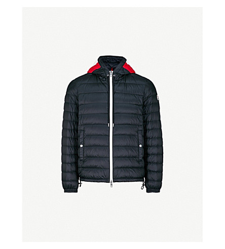 MONCLER Printed hood quilted down jacket (Navy