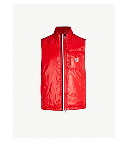 MONCLER High-shine laqué-down hooded gilet (Red