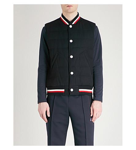 MONCLER GAMME BLEU Contrast-trim wool-down gilet (Navy
