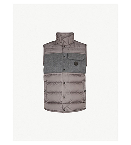 MONCLER Quilted shell and wool gilet (Grey
