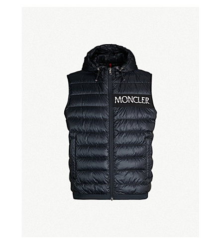 MONCLER Laruns Logo-embroidered quilted shell-down vest (Navy