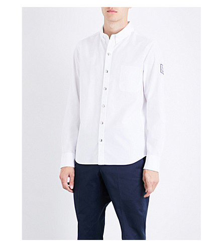 MONCLER GAMME BLEU Brand-patch slim-fit cotton shirt (White