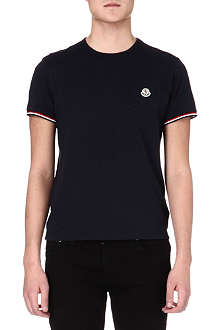MONCLER Striped-trim basic t-shirt
