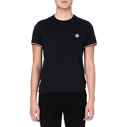 MONCLER Striped-trim basic t-shirt (Navy