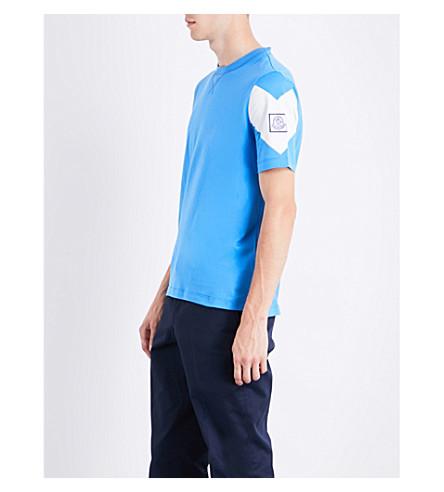 MONCLER GAMME BLEU Logo-detail cotton T-shirt (Bright+blue