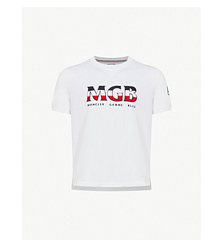 MONCLER GAMME BLEU Logo-print cotton-jersey T-shirt (White