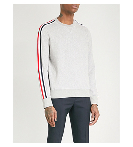 MONCLER GAMME BLEU Striped-sleeve cotton-jersey sweatshirt (Grey