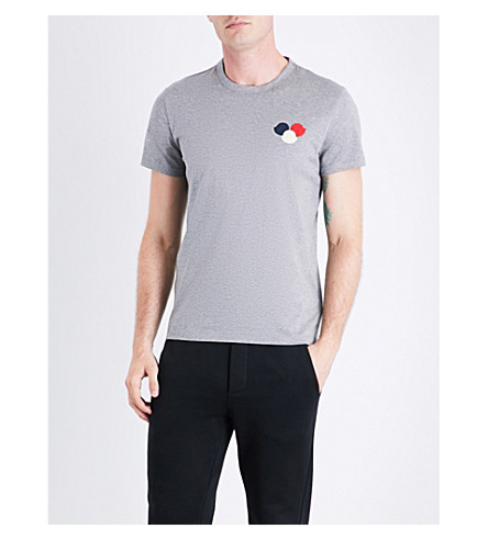 MONCLER Circle-embroidered cotton-jersey T-shirt (Grey