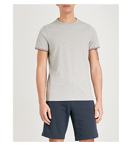 MONCLER Stripe-trim stretch-cotton T-shirt (Khaki