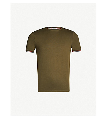 MONCLER Stripe-trim stretch-cotton T-shirt (Military