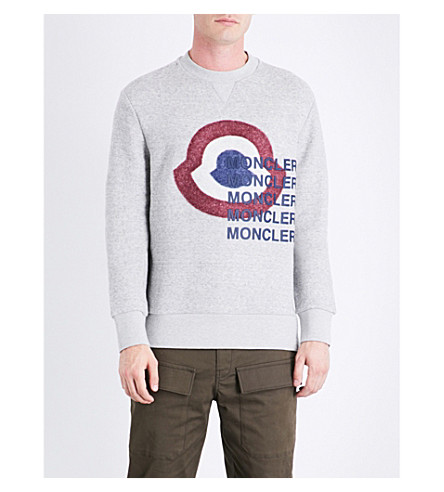 MONCLER Logo-print cotton-jersey sweatshirt (Grey