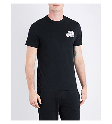 MONCLER Logo patch-appliqué cotton-jersey T-shirt (Black
