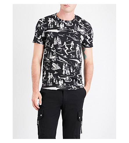 MONCLER Ski-print cotton-jersey T-shirt (Black+white