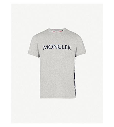 MONCLER Printed cotton-jersey T-shirt (Grey
