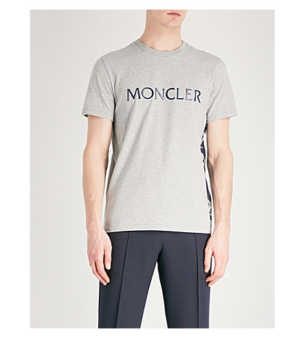 MONCLER Printed cotton-jersey T-shirt (Grey