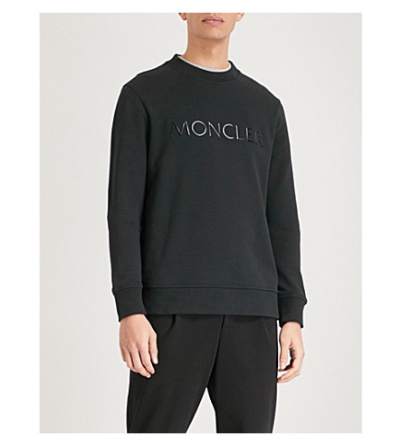MONCLER Logo-print cotton-jersey sweatshirt (Black