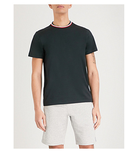 MONCLER Striped-trim cotton-jersey T-shirt (Black