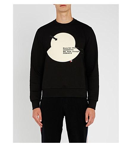 MONCLER Maglia appliqué-patch cotton-jersey sweatshirt (Black