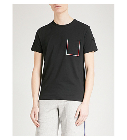 MONCLER Patch-pocket cotton-jersey T-shirt (Black