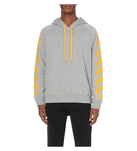 MONCLER Moncler x Off-White striped cotton-jersey hoody (Grey