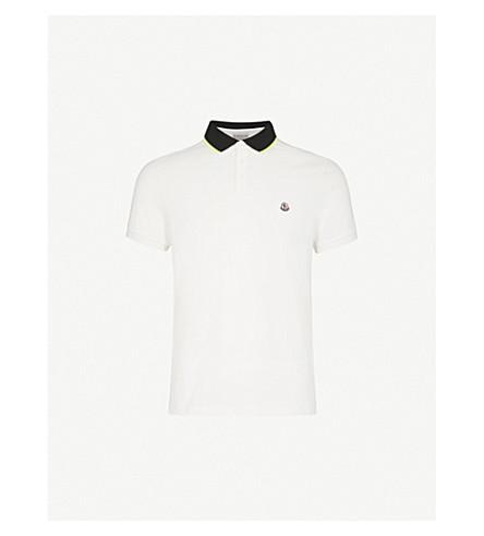 MONCLER Logo-embroidered cotton polo shirt (White