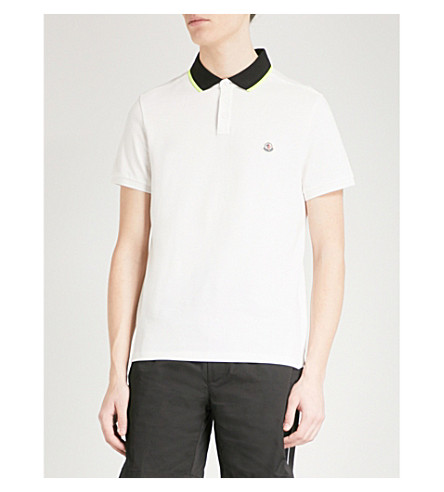 MONCLER Logo-embroidered cotton polo shirt (White