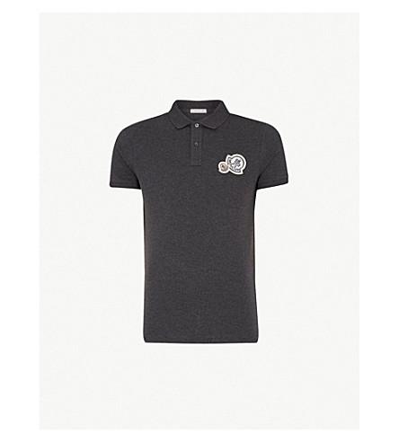 MONCLER Logo-embroidered cotton polo shirt (Dk+grey