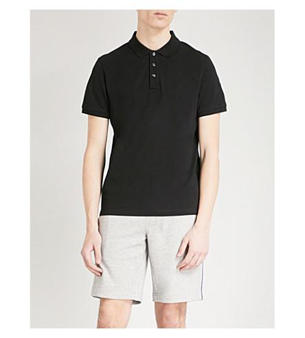 MONCLER Logo-embroidered cotton polo shirt (Black