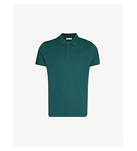 MONCLER Logo-embroidered cotton polo shirt (Green