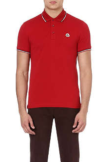 MONCLER Striped-trim polo shirt